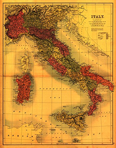 Italy - Panoramic Map (12x18 Art Print, Wall Decor Travel Poster)