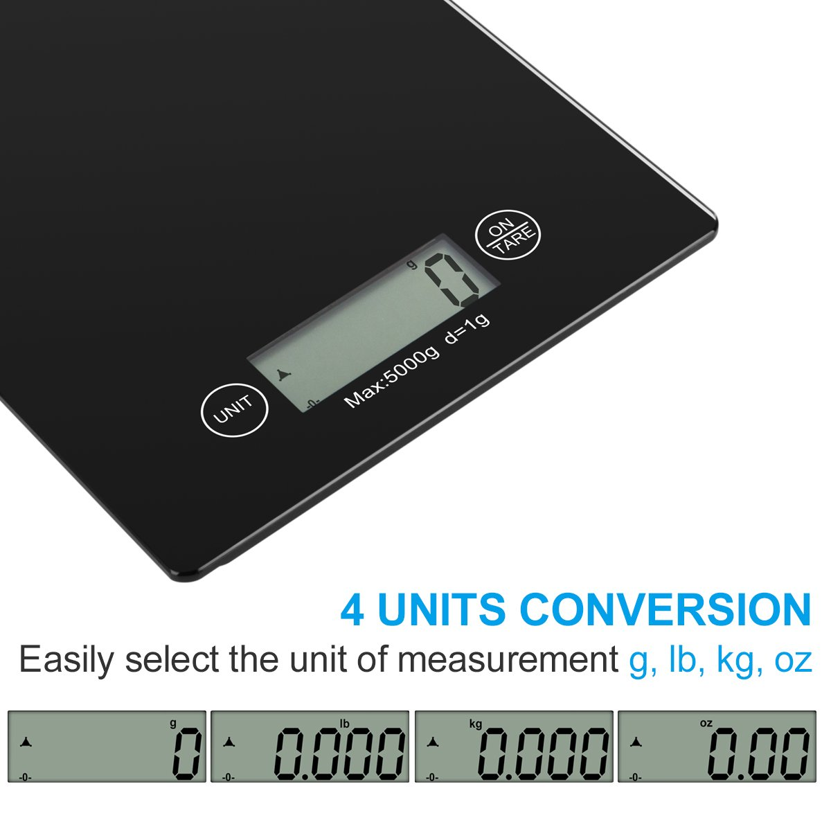 Vellepro Digital Kitchen Scale, (11lbs/ 5kg) Electronic Tempered Glass Food Scale, Cooking Scale, Weighing Scales with Larger Platform&Backlight LCD, Battery Included, Black
