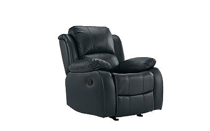 Leather Rocker Recliner Chair, Home Theater Overstuffed Reclining Chair (Dark Blue)