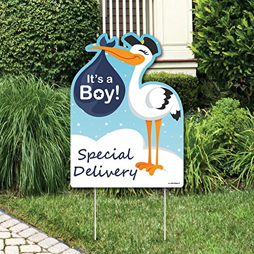 Big Dot of Happiness Boy Special Delivery - Baby Shower Decorations - Blue It's A Boy Stork Baby Announcement & Welcome Yard Sign -