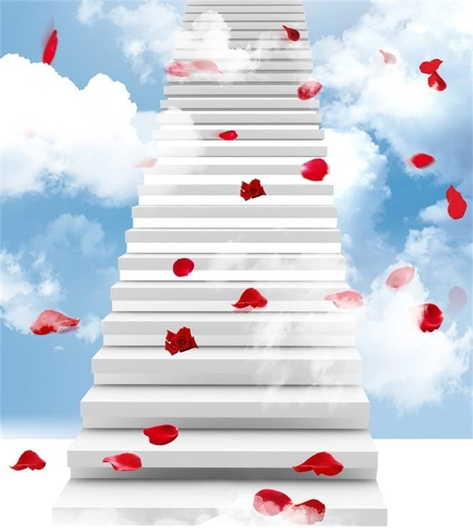 AOFOTO 3x5ft Photography Studio Backdrops Heaven Stairway Background Dreamy Sky Cloud Aerial Stairs Rose Petal Paradise Kid Girl Baby Artistic Portrait Photo Shoot Props Video Drop Wallpaper Drape