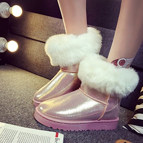 NSXZ Winter flip flashing snow boots like fox fur ankle boots female PINK-90160CM gkOvUKD