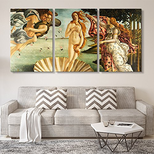 Botticelli Sandro Canvas - wall26 3 Panel World Famous Painting Reproduction on Canvas Wall Art - The Birth of Venus by Sandro Botticelli - Modern Home Decor Ready to Hang - 16