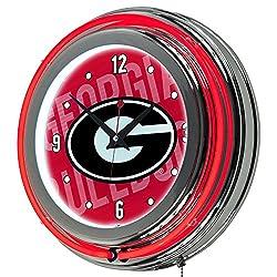 Trademark Gameroom University of Georgia Chrome Double Rung Neon Clock - Wordmark