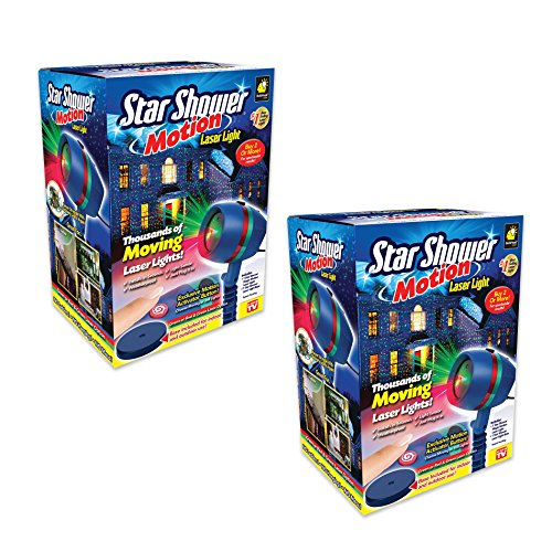 Star Shower Motion Laser Light by BulbHead - Indoor Outdoor Laser Light for Hassle-Free Holiday Decorating – Sparking or Still Red and Green Laser Lights Cover up to 3200 Square Feet (2 Pack)