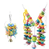 2Pcs Wooden Parrot Toys Colorful Wood Birds Standing Chewing Climbing Swing Stairs Ball Toys Gift
