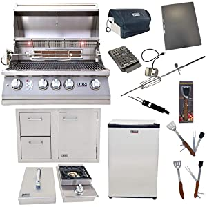 Lion Premium Grills 32-Inch Natural Gas Grill L75000 with Single Side Burner, Eco Friendly Refrigerator, Door and Drawer Combo with 5 in 1 BBQ Tool Set Best of Backyard Gourmet Package Deal