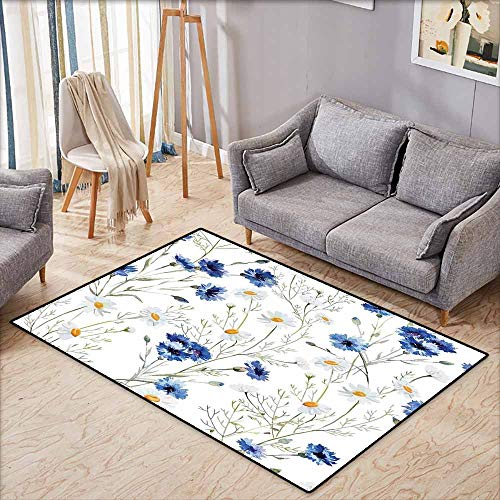 Rectangular Rug,Watercolor Flower Wildflowers and Cornflowers Daisies Blooms Flower Buds,Super Absorbs Mud,5