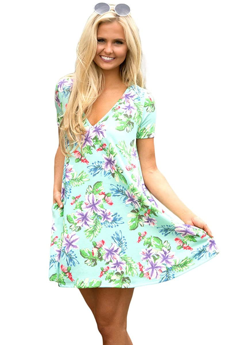 24bd2f071fa OUR WINGS Womens Floral Print Short Sleeve V Neck Casual Loose T-Shirt Mini  Dress With Pockets (US 12-14), Light Green, Large at Amazon Women's Clothing  ...