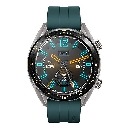 Huawei Watch GT Active Montre Connectée GPS Ecran tactile boîtier Inox 46mm avec Bracelet Sport Vert