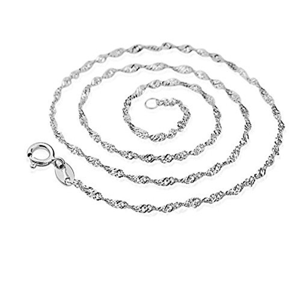 Youlixuess Style 1.5mm Women & girl Titanium Steel Silver Water Wave Style Nickel & Lead Free Twisted Chain Necklaces 16 - 30 YLSJ008-16