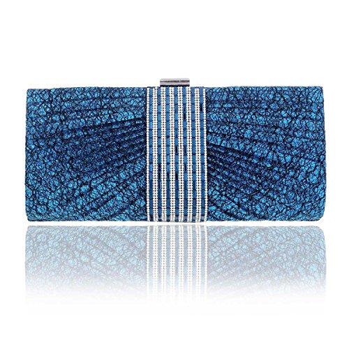 Damara Elegante Mujeres Cartera De Embrague Bolso De Hombro Fiesta,Plateado Azul