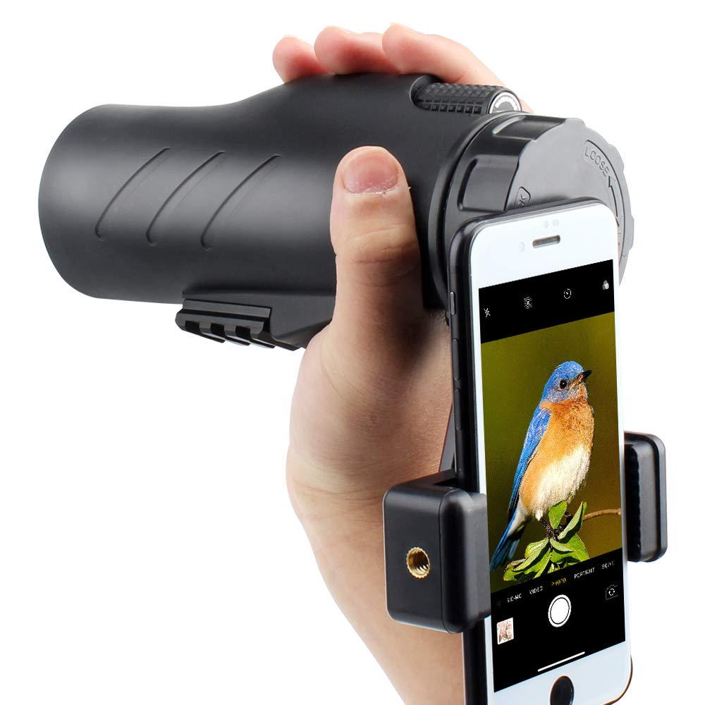 Gosky 12x50 Ultra HD Monocular with Picatinny Rail for Rifle-2019 New Waterproof Hunting Monocular with Scope Mounting Base Rifle Rail and Smartphone Holder for Hunting Survival Wildlife Bird Watching by Gosky (Image #9)