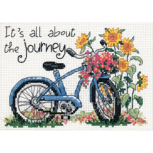 Dimensions 'The Journey' Bicycle Counted Cross Stitch Kit, 14 Count White Aida, 7