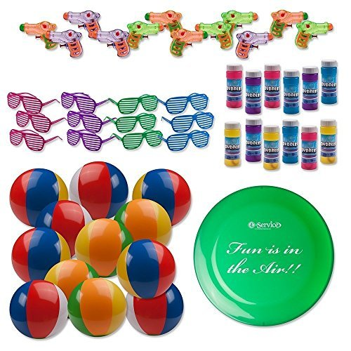 Beach Toys Assortment. 12 Shutter Shade Sunglasses, 12 Squirt Guns, 12 Beach Balls, 12 Bubble Bottles and 9 Frisbee by Number 1 in service