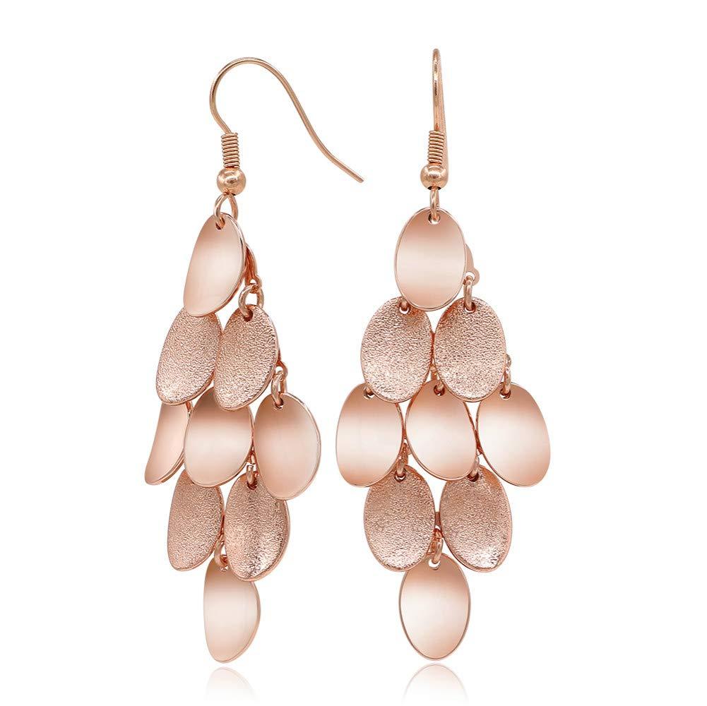 Kemstone Brushed Satin Rose Gold Plated Dangle Earrings for Women