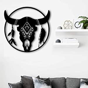 Artmyharbor Metal Wall Decor Bull Skull with Feathers Wall Hanging Art Southwestern Cow Steer Skull Design Metal Circle Wall Sculptures 3D Art Decor Country Decorative 24
