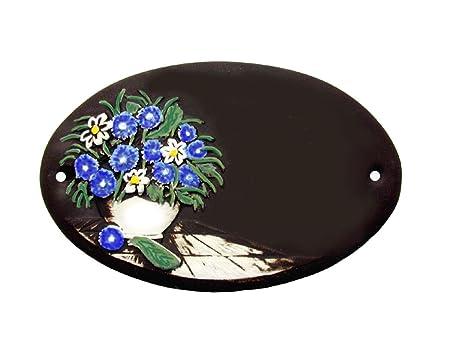 Ceramic Door Sign With Flower Design For The Front Door Name 13