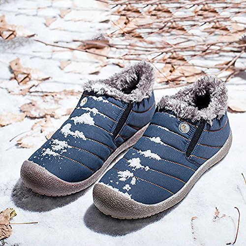Snow Slip Mdurian Shoes Warm Lined Waterproof Fur Outdoor Slip Women Unsex Boots Men blue top Winter Ankle On Low Anti 8q8Zrw