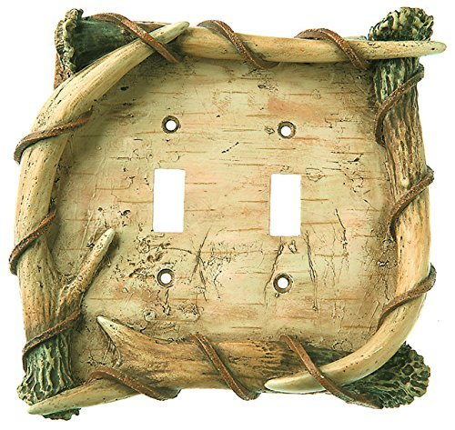 Big Sky Carvers 30170279 Birch Antler Double Switch Plate by Big Sky Carvers