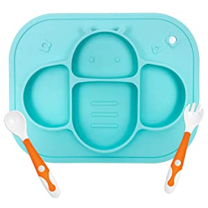 YIVEKO Baby Plates with Suction Plates Divided, Baby Spoon Fork Set for Toddlers, Silicone Plates for Kids with Suction Stick to High Chair Trays and Table, Baby Dishes Kids Plates and Utensils-Blue