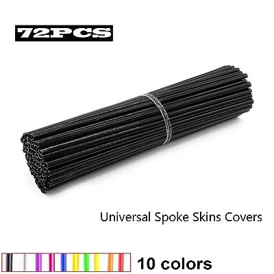 JOYON 72 Pcs Universal Spoke Skins Covers Coats for Motorcycle Dirt Bike Kawasaki Honda Yamaha BMW Suzuki(Black): Automotive