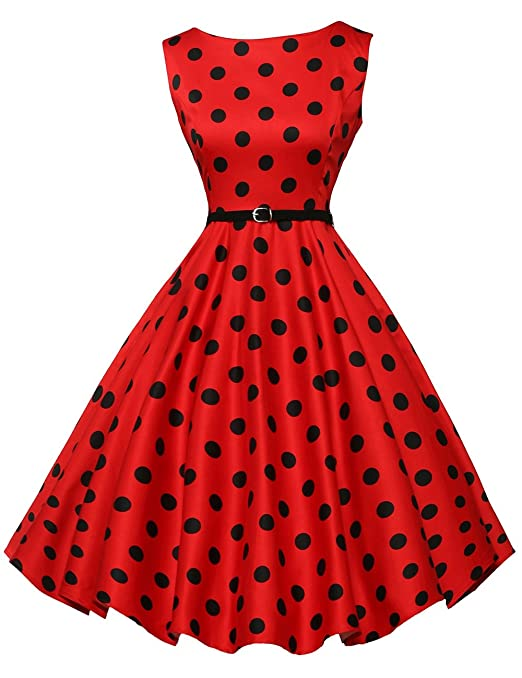 Rockabilly Dresses | Rockabilly Clothing | Viva Las Vegas GRACE KARIN Boatneck Sleeveless Vintage Tea Dress Belt $31.99 AT vintagedancer.com