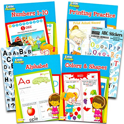 Fisher Price Preschool Workbooks Set -- 4 Pre-K Workbooks for Toddlers (ABCs, Counting, Colors, Shapes)