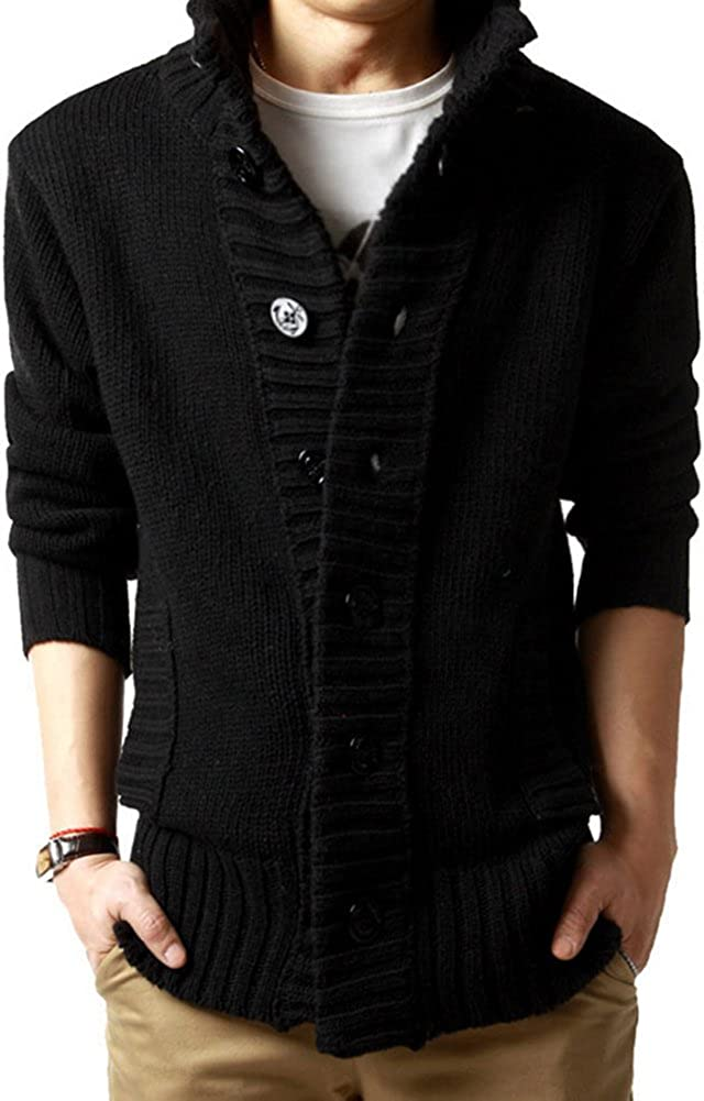 Knitted Jacket Knit Sweater Chunky Cardigan Mens Button Sweater