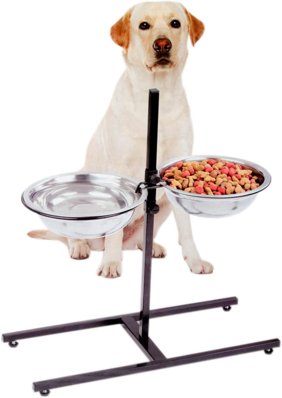 Etna Adjustable Height Elevated Pet Feeder - Raised Comfort Diner with Stainless Steel Food and Water Bowls for Dogs and Cats