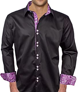 product image for Black with Purple Paisley Designer Dress Shirt - Made in USA