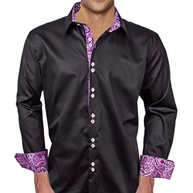 6ca8496f9135 Black with Multi-color Designer Dress Shirt - Made in USA (XS Modern Fit