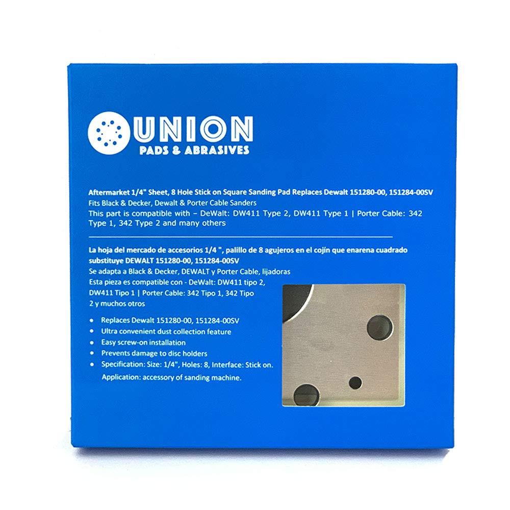1//4 Sheet Superior Pads /& Abrasives SPD18 Fits Black /& Decker Dewalt /& Porter Cable Sanders 151284-00SV 8 Hole Stick on Square Sanding Pad Replaces Dewalt 151280-00