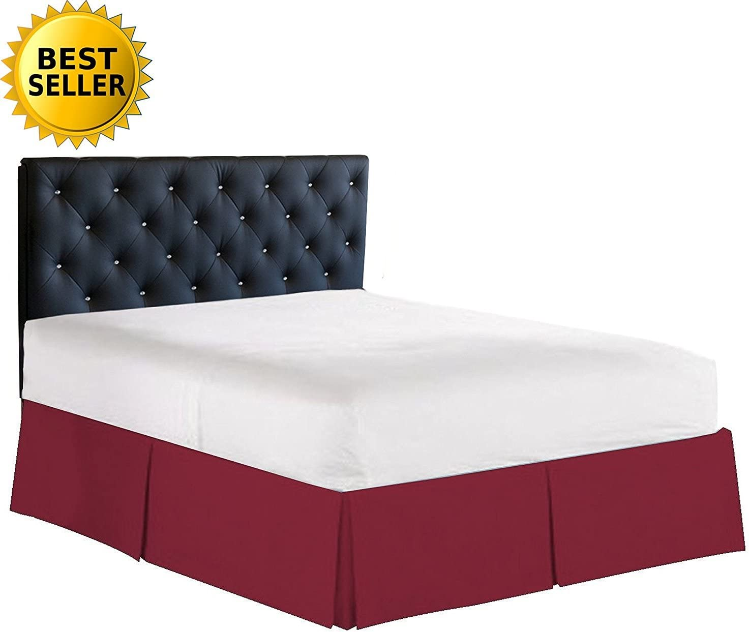 Elegant Comfort 1500 Thread Count Wrinkle /& Fade Resistant Egyptian Quality Bed Skirt//Dust Ruffle Burgundy Pleated Tailored 14inch Drop Twin