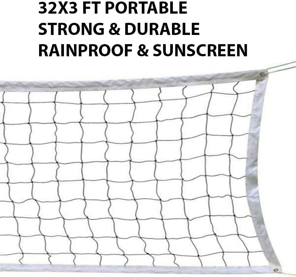 Amazon Com Highhoop 32x3 Ft Portable Volleyball Net Use Indoors Outdoors On The Beach Or The Backyard Square Mesh With 4 X 4 Inches Size Sports Outdoors