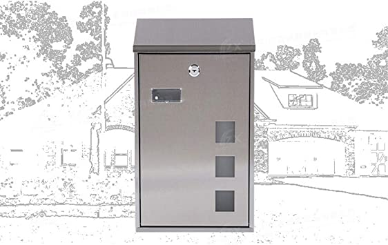 Tooluck Door Letterboxes Outdoor Lockable Letter Post Box Home Decor Locking Mailboxes Large Retro Style Black