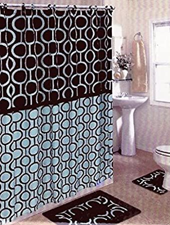 Brown U0026 Blue 15 Piece Bathroom Set Bath Rugs Shower Curtain U0026 Rings