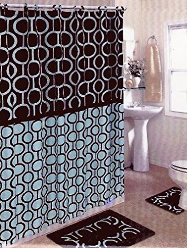 Amazon.com: Brown & Blue 15-piece Bathroom Set Bath Rugs Shower ...