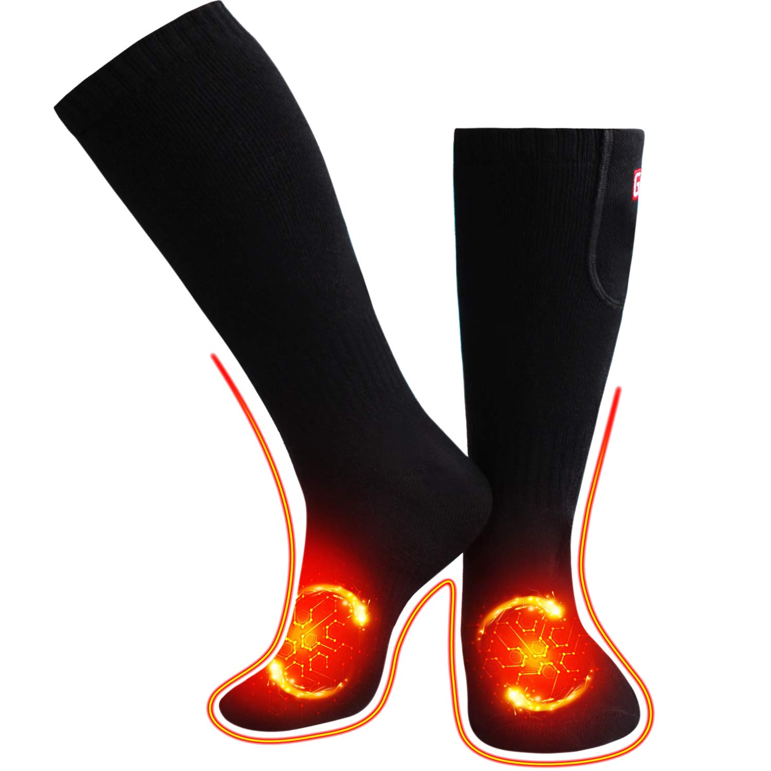 Rechargeable Heated Socks L M Size to Optional Battery Powered Heating Novelty Thermal Socks (BLACK, M) by QILOVE