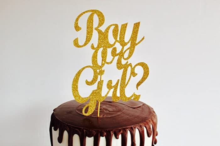 Boy Or Girl Gold Glitter Cake Topper Baby Shower Gender Reveal