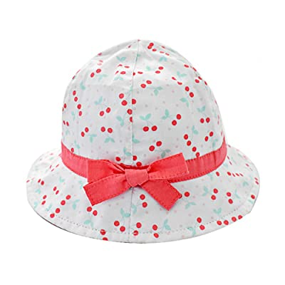 ACTLATI Kids Baby UPF 50+ Sun Protection Bucket Hat Cute Bowknot Cherry  Girls Summer Beach 6dbf4b7f91ec