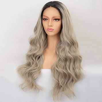 Amazon.com   Persephone Ash Blonde Lace Front Wig Wavy Dark Roots Ombre  Synthetic Wigs for Women Long Ashy Blonde Wig with Middle Part 22 Inches    Beauty 1b90895b48