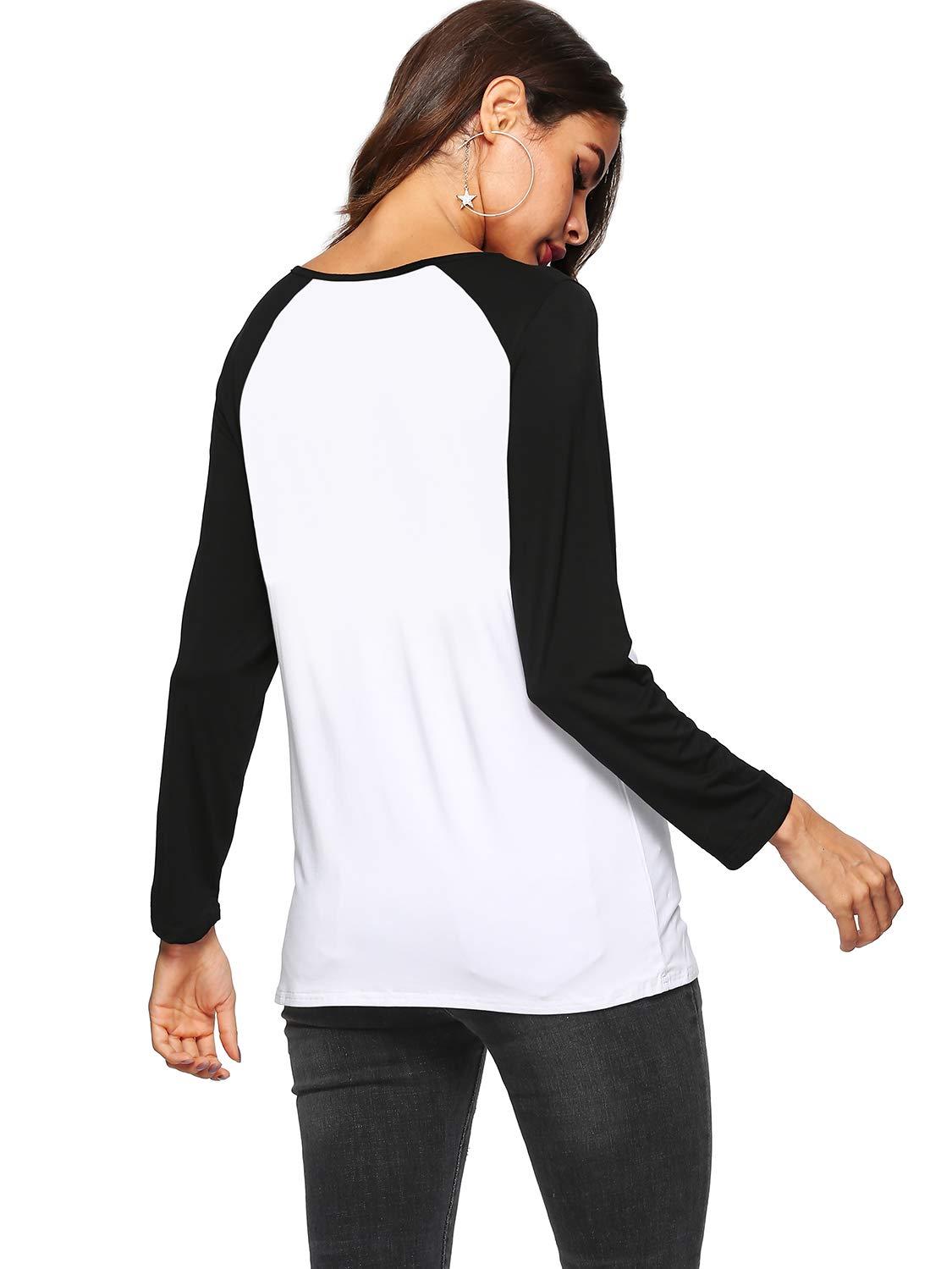 Amortu Women's Crew Neck Shirts Sretch Long Sleeve Raglan Baseball T-Shirt Black L by Amoretu (Image #2)