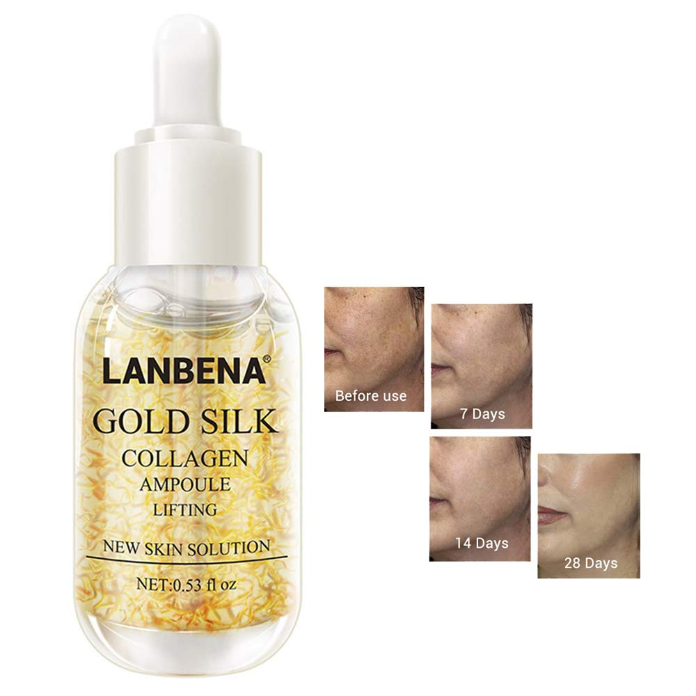 LANBENA Gold Silk Collagen Ampoule Lifting Serum for Removes Melanin Lighten Dark Spots+ Whitening Firming Flexible+Anti Aging Anti Wrinkle (0.53 fl oz)