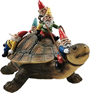 Muse Design Garden Gnome Turtle Statues Yard Art Resin Figurine Decorations Outdoor Garden Décor