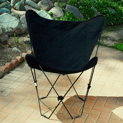 The Hamptons Collection Ebony Black Replacement Cover for Retro Folding Butterfly Chair