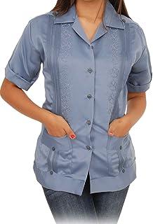 214be374 Zava Fashion Women's Authentic Guayabera Yucateca Classica Color French Blue
