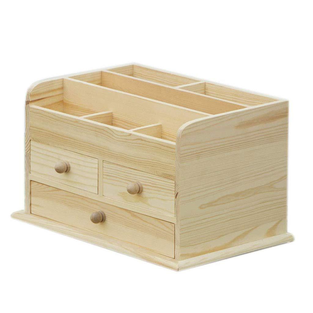 RANRANJJ Creative Desktop Storage Boxwood Jewelry Storage Cosmetics Organizer Box 3 Drawers