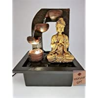 "VANLON Water Fountain Buddha Indoor Water Feature, Player with 3 Water Cups, White LED Light, 8.2""x6.6""x9.8"", 3 Pin UK Plug (Golden)"