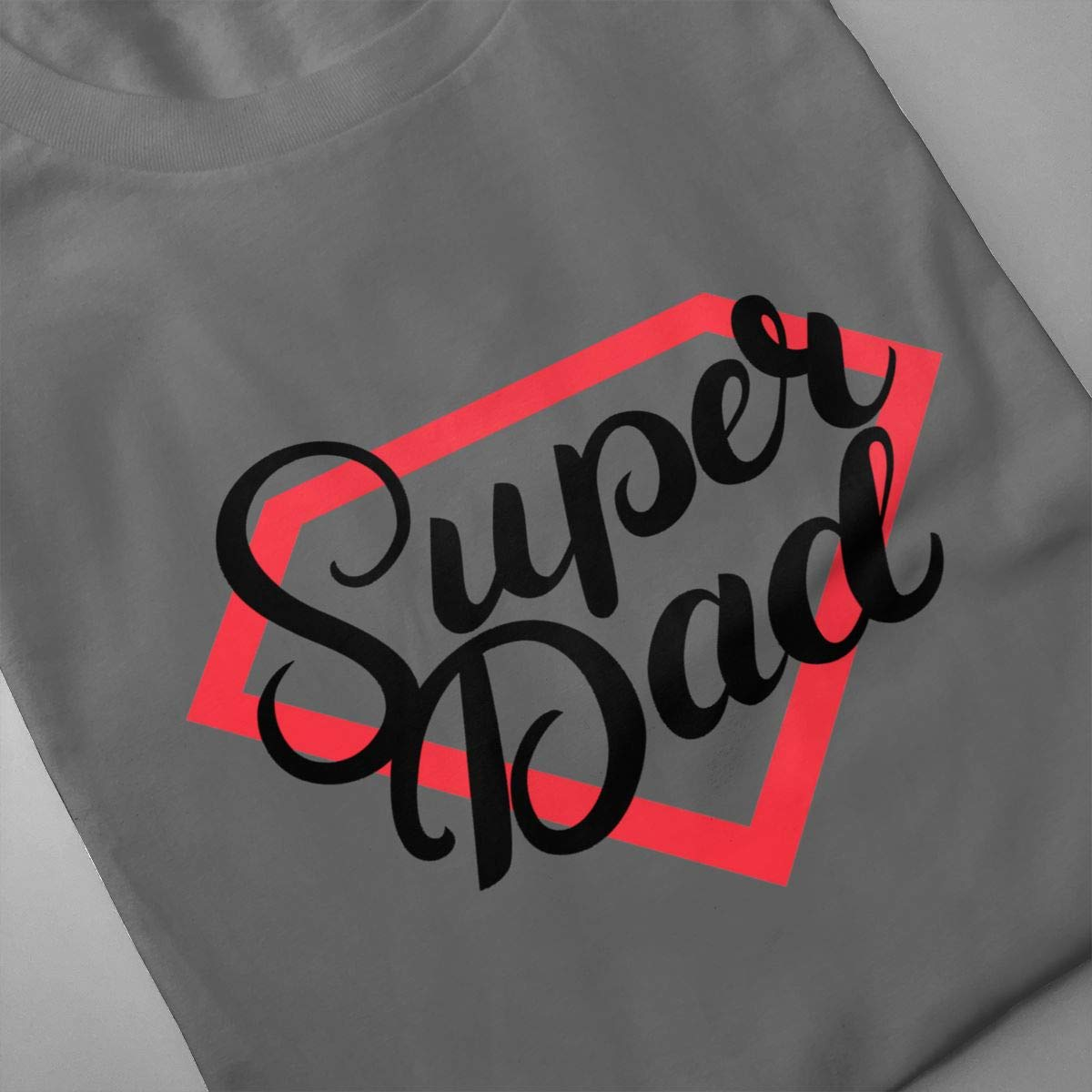 BYSKA Mens Designed Comfortable Fathers Day Super Dad I Love You Daddy Papa Short Sleeve Cool T Shirt Deep Heather